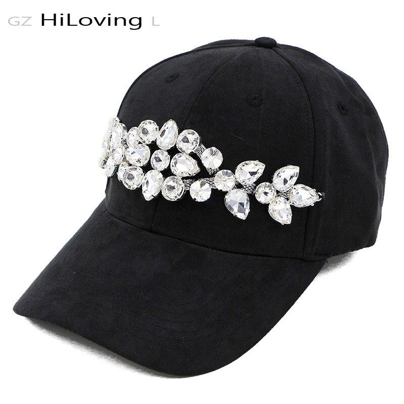 GZHilovingL Fashion Womens Spring Big Diamond Baseball Cap Women Casual Plain Color Suede Snapback Cap Hats Hiphop Caps