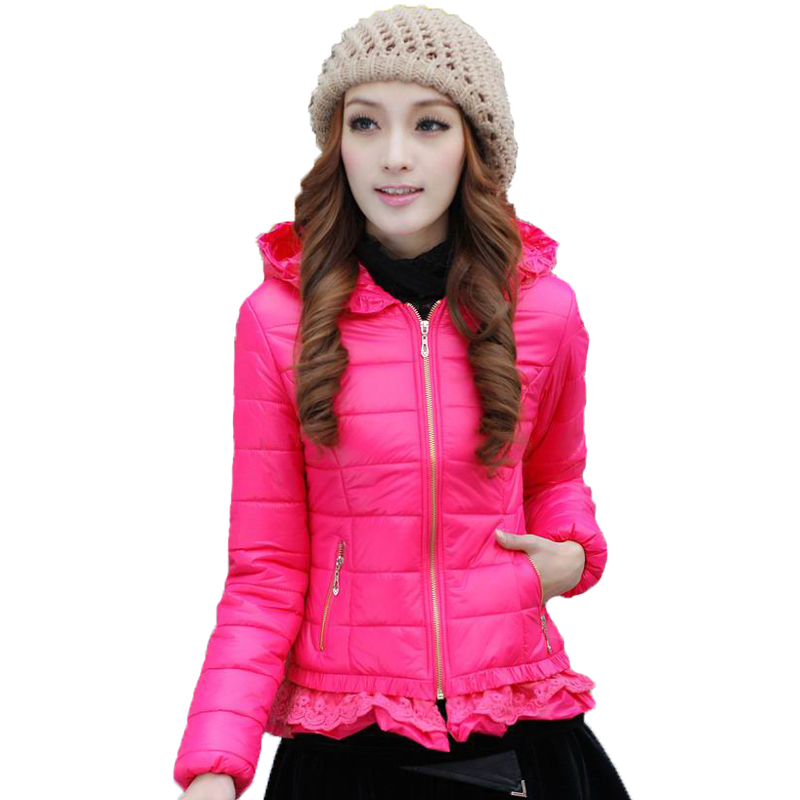 Women Coat Parkas Hooded Solid Zipper Lace Bordered Long Sleeve Short Coat Cotton Pad Outwear M-xxxl Chaqueta Mujer C91093 Vivid And Great In Style Women's Clothing