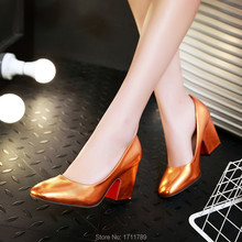 new fashion spring autumn shoes women pumps red bottom high heels shoes thick heels lady party shoes small big size 33-43 0104