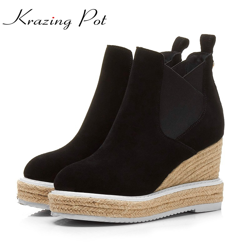 Krazing Pot cow suede boots women round toe slip on height increasing high heels platform handmade straw Chelsea ankle boots L81 enmayla new women slip on chelsea boots suede black crystal ladies ankle boots for women round toe med heels shoes woman