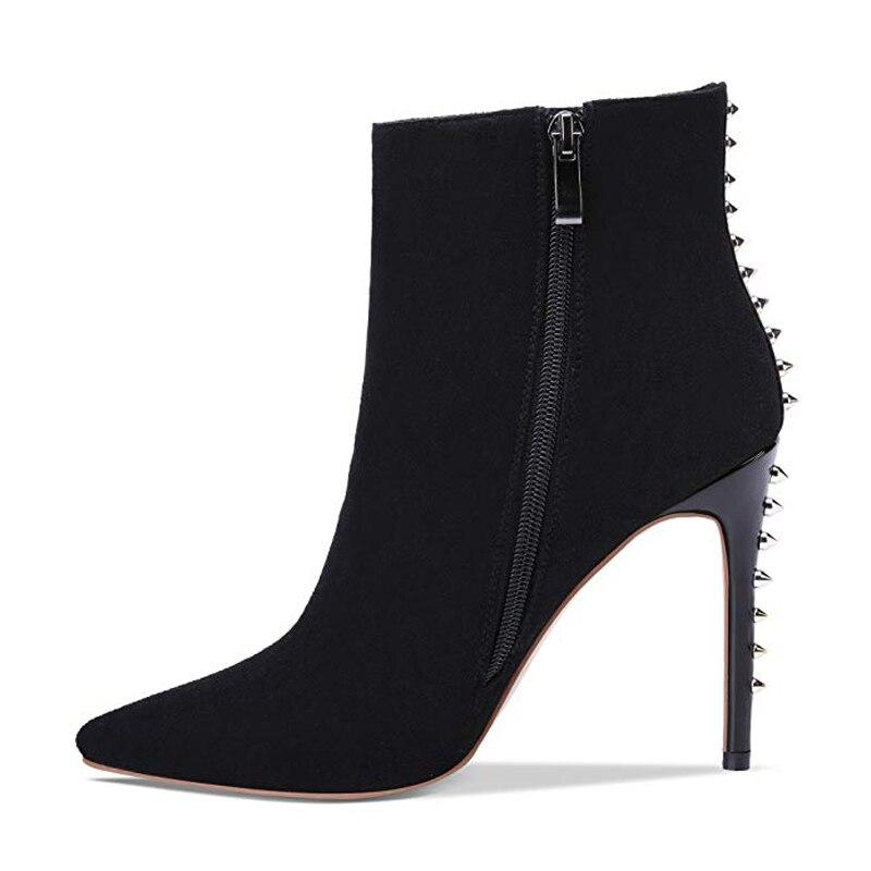 2019 Automne Furtado Arden Rivet Black Parti Chaussures Grande Boot Bottes 43 Dames Zipper Bout Hiver Stylets Taille Cheville Sexy Pointu 1w5REqgR