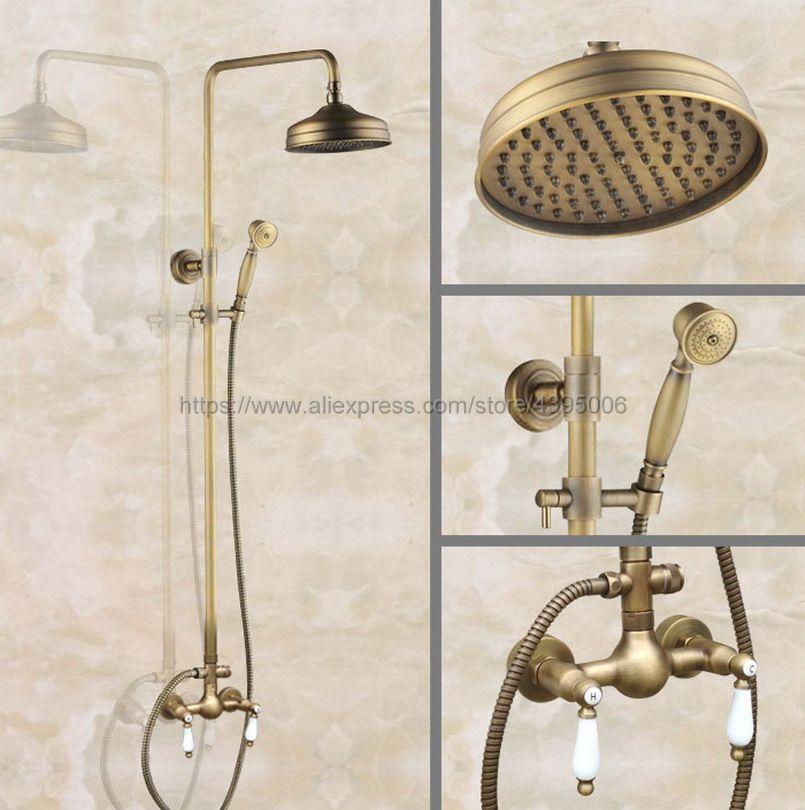 Antique laiton mural robinet de douche salle de bains système de douche pluie ensemble robinet avec pulvérisateur à main Ban112