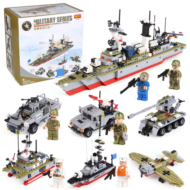 XIPOO 6 IN 1 Battle Cruisers Ship Model legoing Military Series Building Blocks Bricks Sets Educational Gift Toys for Children xipoo 6 in 1 blue military ship diy model building blocks bricks sets educational gift toys for children boy friends