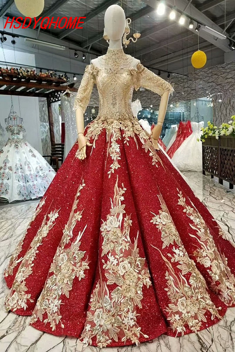 HSDYQHOME Amazing Gold Appliques   Evening     dresses   Half Sleeve Prom   Dresses   Appliques Vestidos Luxury   Evening   party gown