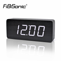 FiBiSonic Big Numbers Wood LED Digital Clocks Sound Control Wooden Alarm Clock With Temperature