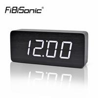 FiBiSonic Big Numbers Wood LED Digital Clocks Sound Control Wooden Alarm Clock With Temperature