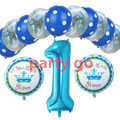 Pink/blue number 1 helium balloons clear polka dot latex balloon kids birthday party decorate it's a boy/girl baby princess ball