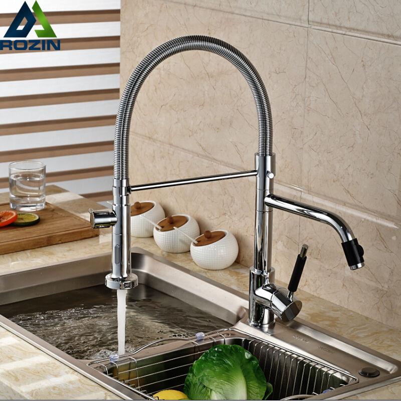 Fashion Dual Swivel Spout Kitchen Sink Mixer Faucet Deck Mount Brass Kitchen Water Tap Pull Down Sprayer Nozzle