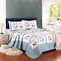 Plain Patchwork Quilt Set 3PCS Bedspread Bedding Washed Cotton Quilts Bed Covers Shams King Queen Size Coverlets Blanket