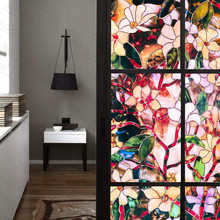 Decorative Glass Window-Film Stickers Static Privacy Sun-Blocking Cling Color-Flower