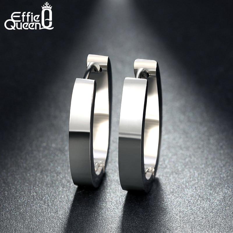 Effie Queen բարձրորակ 316 L չժանգոտվող պողպատից ականջողներ կանանց համար Կատարյալ փայլեցված օղով գամասեղներ ականջողներ գերժամանակակից տղամարդկանց զարդեր IE17