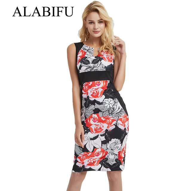 ALABIFU Summer Autumn Dress 2018 Women Casual Vintage Sleeveless Floral  Pencil Dress Sexy Elegant Bodycon Party Dresses Vestidos acdb0de6e546