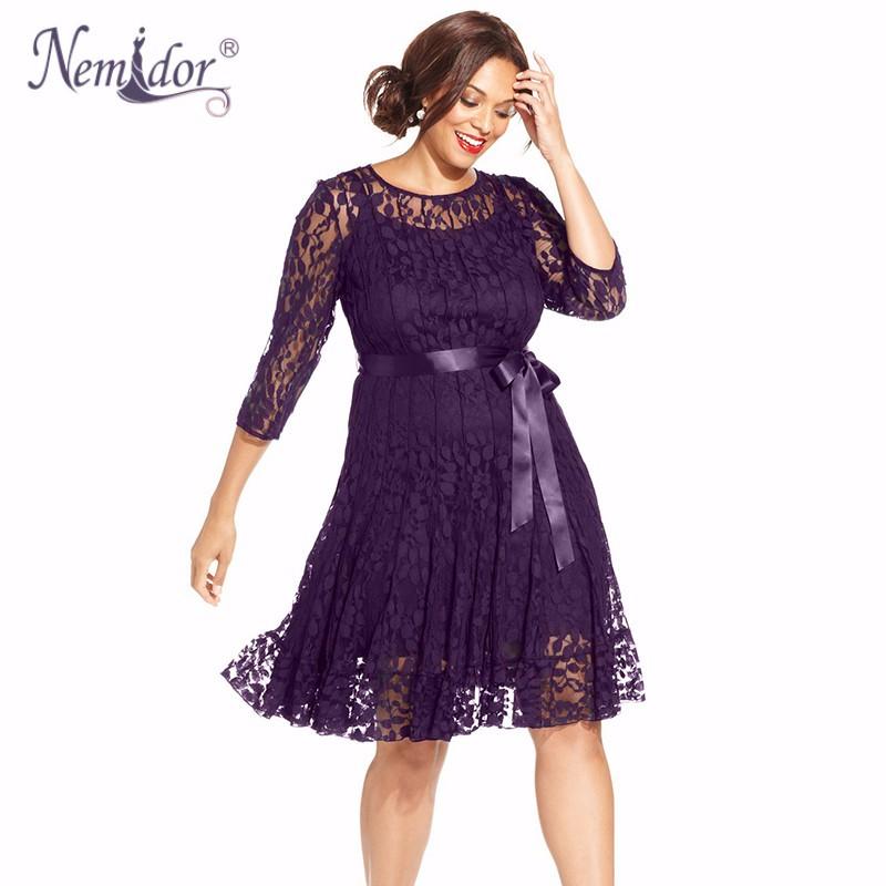 Nemidor Plus Size Lace Dress (9)