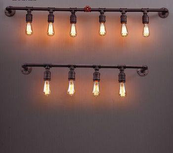 6 Licht Loft Vintage-stil Industrieschmiedeeiserne Wasserleitung Rostigen Farbe wandleuchte Cafe Bar Beleuchtung Café Fabrik