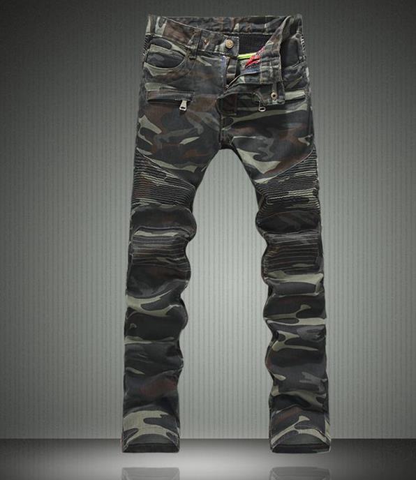 Autumn fashion camouflage middle waisted jeans men pant slim fit mens denim trousers straight street modern urban british style мужские футболки