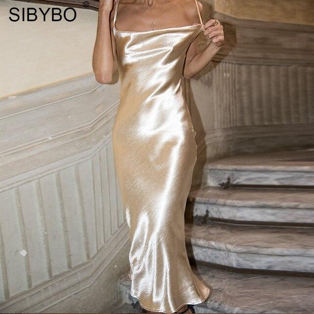 Sibybo сексуальное Спагетти ремень спинки летнее платье для женщин Атлас Кружево до трубы Длинное Элегантное облегающее платья для вечерин