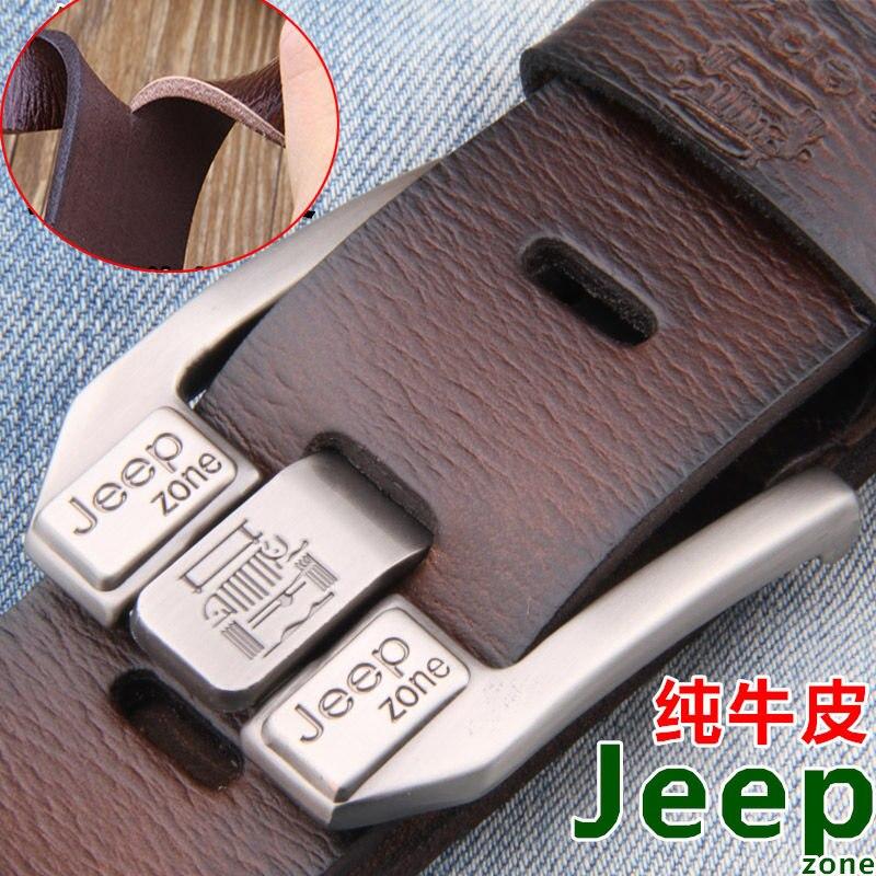 jeep zone men genuine leather belt luxury buckle designer belts cow Split Leather cowskin fashion strap