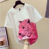 New Fashion Summer Women's Tshirt Pink Leopard Sequins Loose Medium Long T shirt Girls Students Basic Shirts Pullover Tops