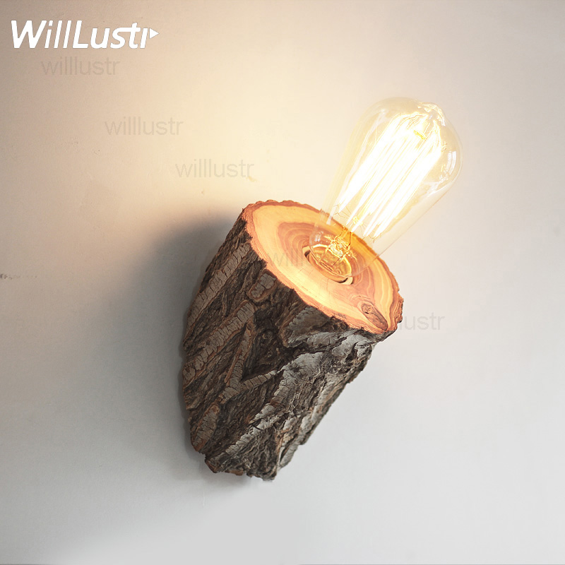 Natural elm Wood Wall Sconce light wild wood wall lamp country light living room restaurant cafe bedroom hotel lighting bjornled america wall sconce copper wall lamp 2 arm fabric shade light living room restaurant cafe bedroom hotel e14 led lamp