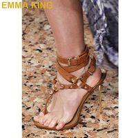 Fashion Ankle Buckled Runway Shoes Metal High Heel Sandals Stiletto Thin High Heel Gladiator Sandals Rivets Embellishment Heels