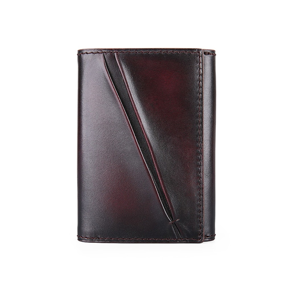 TERSE_Handmade card holder mens top Italian genuine leather name card wallet blue/ burgu ...