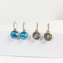 Rose Gold and 925 silver earrings octagon star & vintage compass opal for women fashion jewelry  drop bohemian