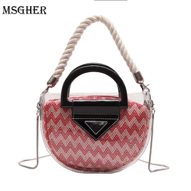 M.S 2018 Summer Chain Bags Beach Shoulder Bag Women Transparent Handbag with Striped Clutch Designer Composite Messenger Bags