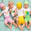 2016 Nuevo Estilo de Ropa Del Bebé Trajes de Algodón Animales Patrón Corto T-shirt + Pants 2 unids Infantil Bebe Bebé Que Arropan el sistema