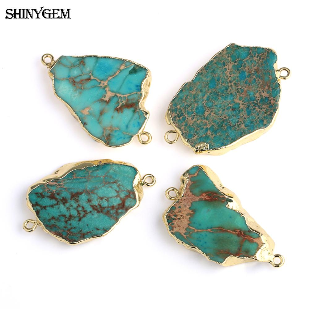 ShinyGem New Irregular Sea Sediment Gem Stone Colgante Conector 5 pcs / Lot Golden Natural Stone Colgante Charms DIY Fabricación de joyas