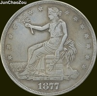 United States Of America 1877 CC Seated Liberty Brass Silver Plated Trade  Dollar Copy Coins