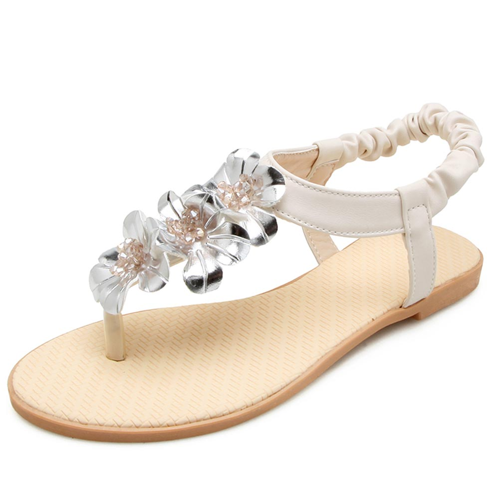 WOMENS FLAT SILVER SANDALS SUMMER HOLIDAY SHOES SIZE
