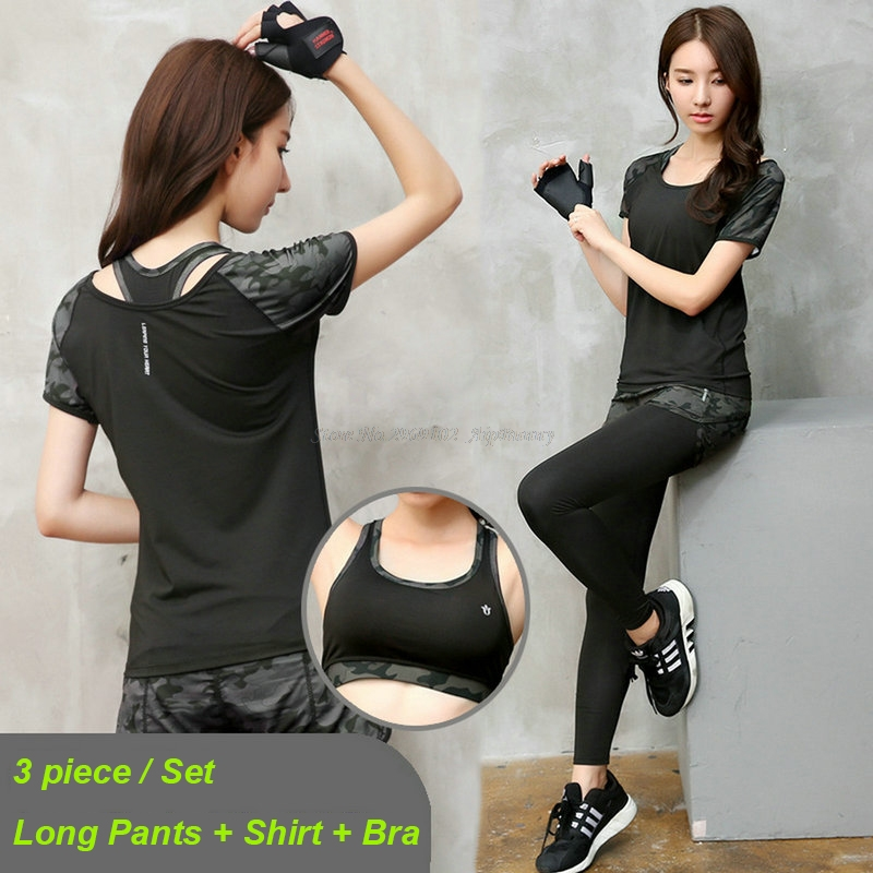 3 조각 (긴 바지 & 반팔 티셔츠 & 브래지어) 여성 요가 - 스포츠웨어 및 액세서리