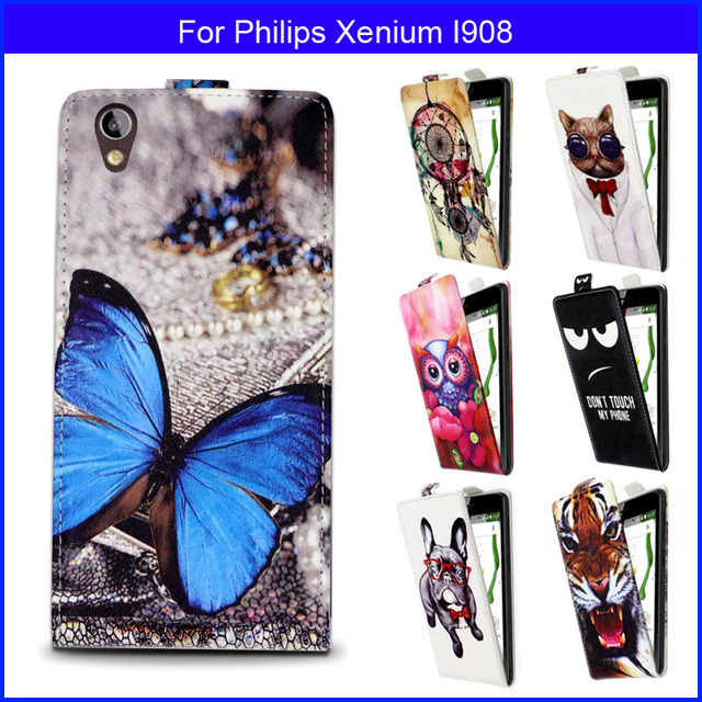 Fashion Patterns Cartoon Luxury Flip up and down PU Leather Case for Philips Xenium I908, gift