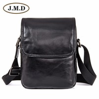 J.M.D Genuine Cow Leather Black Sling Bag Men's Messenger Bag Cross Body Purse 1031A