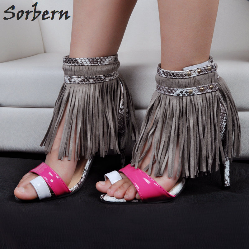 Sorbern High Heels Sandals Shoes Sandalias Mujer 2017 Ladies Sandals Plus Size Tassel Rivets Hook Loop Women Summer Sandals sorbern plus women sandals deep purple zipper spike heels sandalias mujer 2017 summer shoes women large size shoes women 43