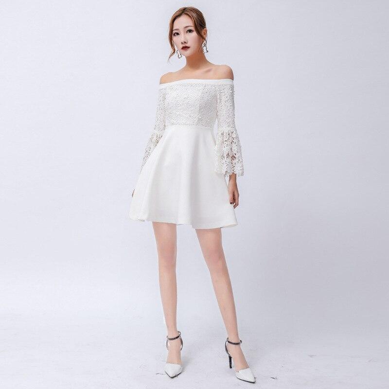 Blanc Sexy & club évidé dentelle Patchwork 2019 printemps été robes femme corne manches Mini court femmes robe a-ligne QH116