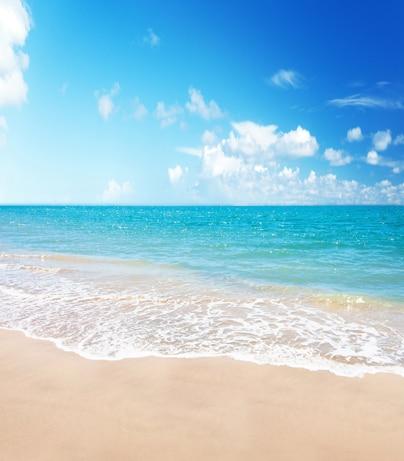 10x10ft Summer Blue Sea Sand Beach Wave Tides Clouds Sky