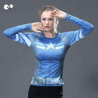 New MMA Fitness Compression Shirt Women Long Sleeve 3D Superhero Tops Superman Running Clothing Quick Dry