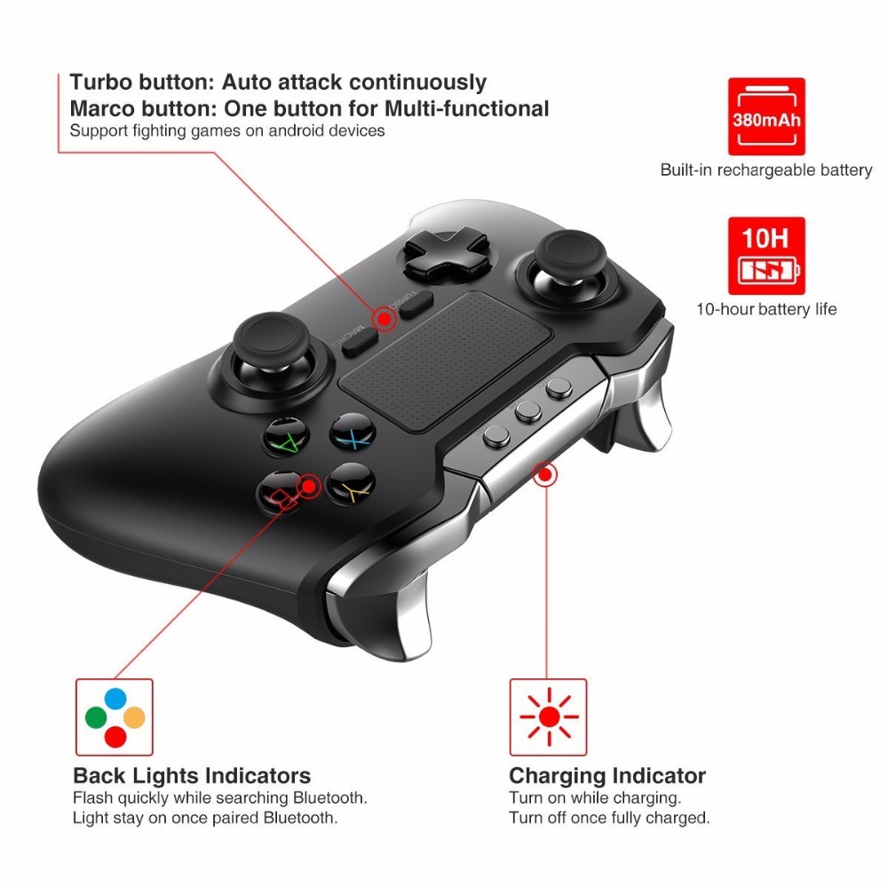 iPega PG-9069 PG 9069 Wireless Gamepad Bluetooth Touchpad Game Controller for Android/iOS Tablet PCSmartphone Dual Motor Holder