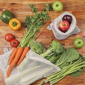 Image 5 - 9 adet/takım Premium organik pamuk örgü çanta üretmek yeniden yıkanabilir depolama İpli alışveriş çantası, bakkal, meyve sebze