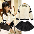 Long Sleeve Girls Clothing Set for Fall 2017 Top Skirt 2pcs Kids Outfit Long Sleeve Sweatshirt + Skirt Black White Clothes Set