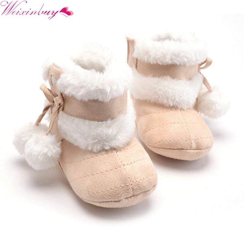 Newborn Winter Baby Girl Boots Bowknot Fleece Snow Boots Booties Kids Princess Children's shoes