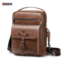 Brown Messenger Bag Men's Shoulder PU Leather bags Flap Small male Crossbody bags for Men 8