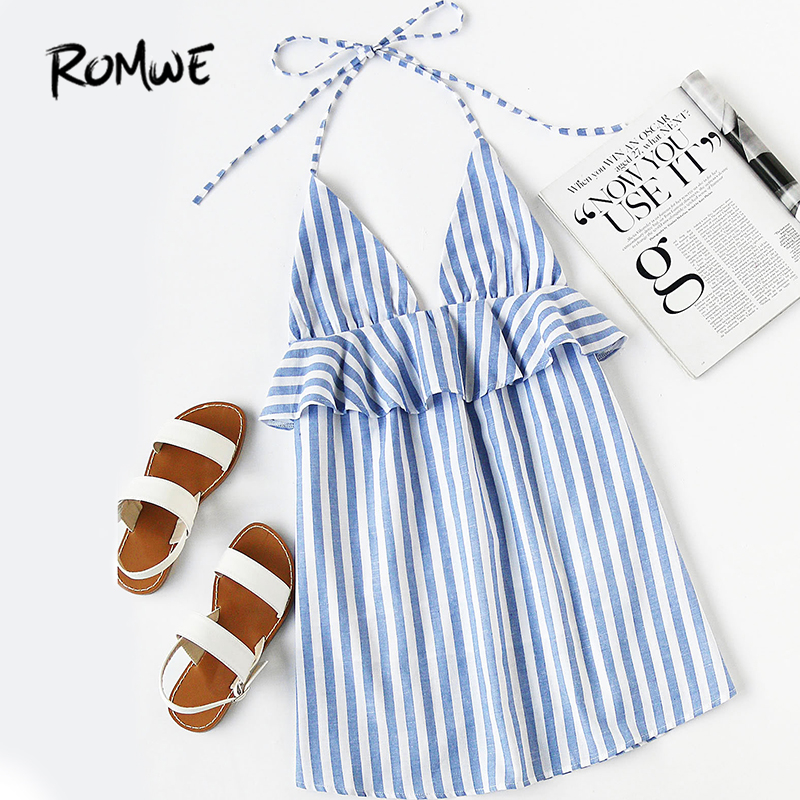 ROMWE Halter Neck Blue Vertical Striped Frill Trim Dress Womens Sexy Summer Dresses Sleeveless Backless Tunic Dress ...