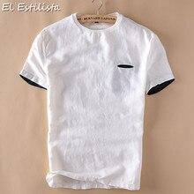 fc4c2ec31167cb 2018 Mężczyźni Dorywczo Lato Biały Czarny Koszulki Okrągły Kołnierz Krótki  Koszulka Oddychająca Pościel Bawełniana DIY Kieszeń