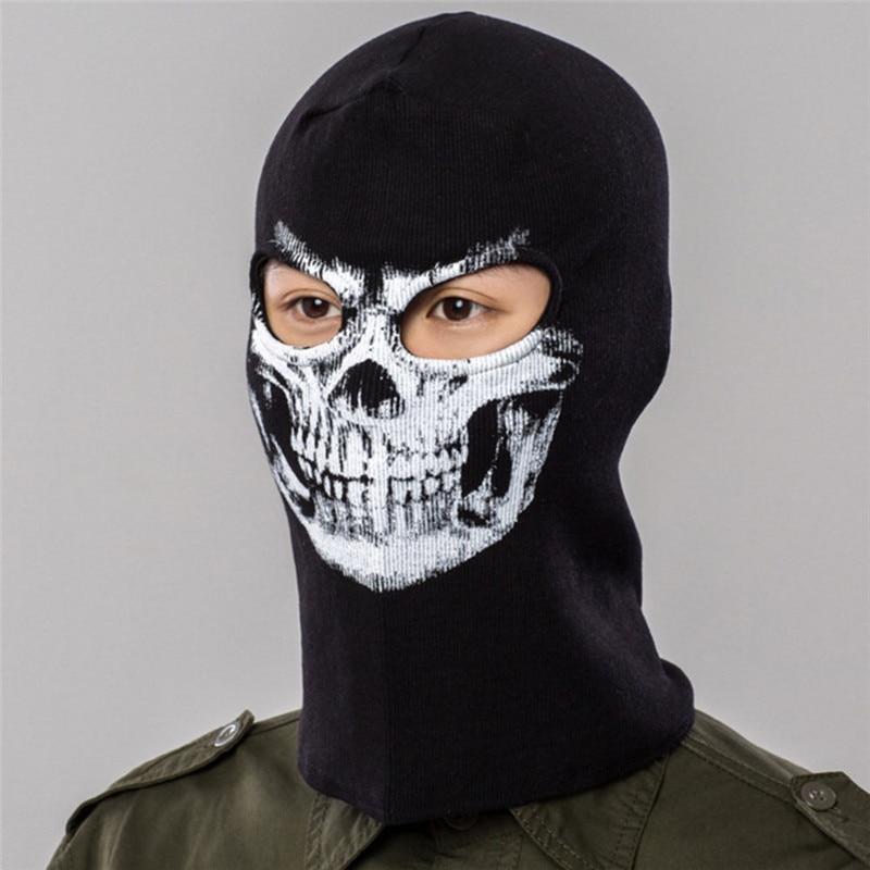 Winter Cycling Full Face Masks Cap Windproof Warmer Skull Printed Sport Ski Running Bike Bicycle Neck Hat Head Scarf Men