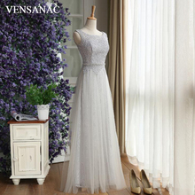 VENSANAC 2018 A Line Crystals Sash Long Evening Dresses Sequined O Neck Elegant Party Lace Embroidery Prom Gowns