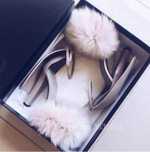 2018 Fashion Sexy Pink Fur Cover Summer Women Sandals Cover Heel Ankle Buckle High Heels Shoes Woman Party Wedding Size 35-42