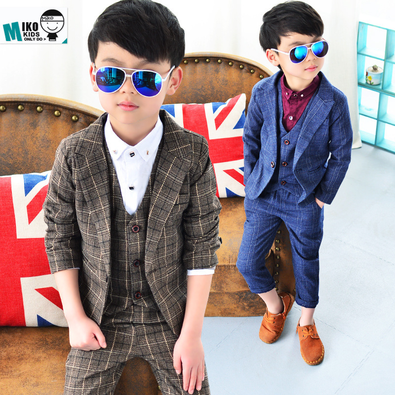 1e026ad68212 NEW Arrival Children Jacket costumes Blazers + Vest + Pant 3 Parts Kid Slim  Suit 2 12Y Little Boy Plaid England style Prom suit-in Suits from Mother &  Kids ...