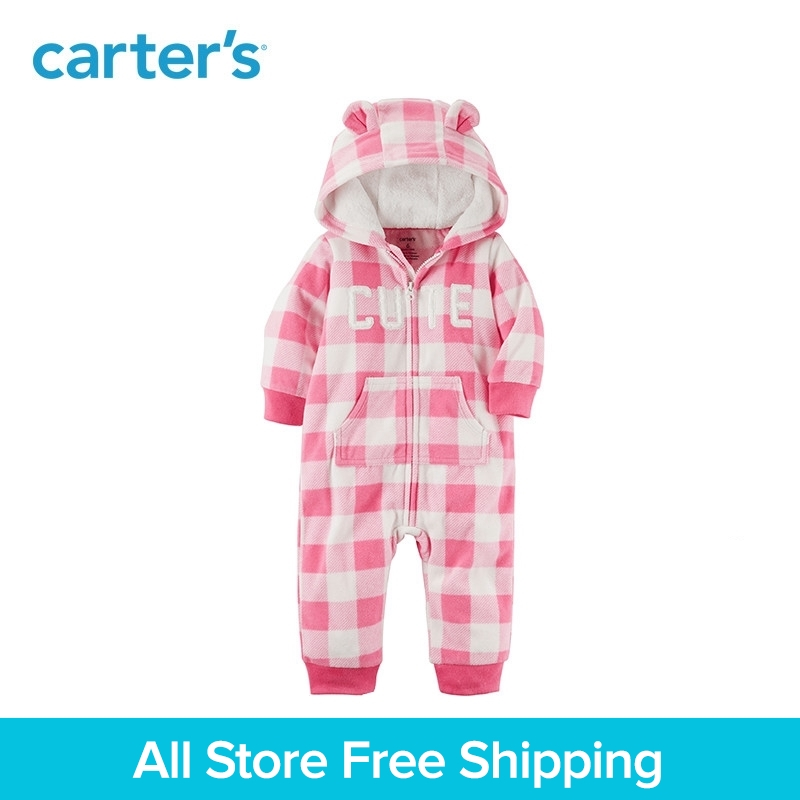 Cute bear ear hooded soft fleece Zip-front checked jumpsuit Carter's baby girl clothing fall winter 118H755 drawstring front cutout midriff tropical jumpsuit